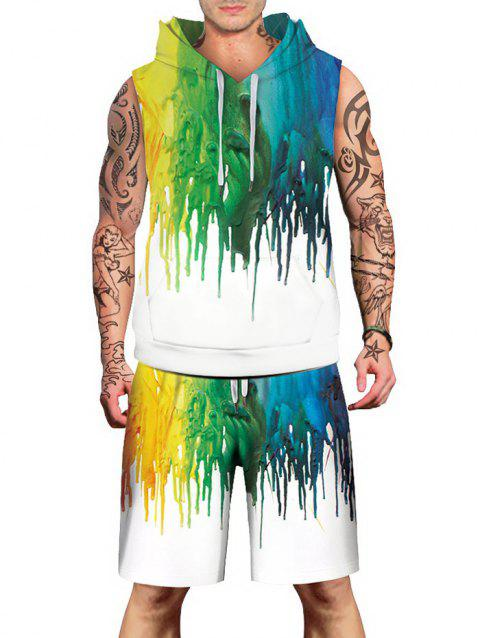 Colorized Oil Paint Pattern Hoodies Tank Top and Shorts - multicolor 3XL