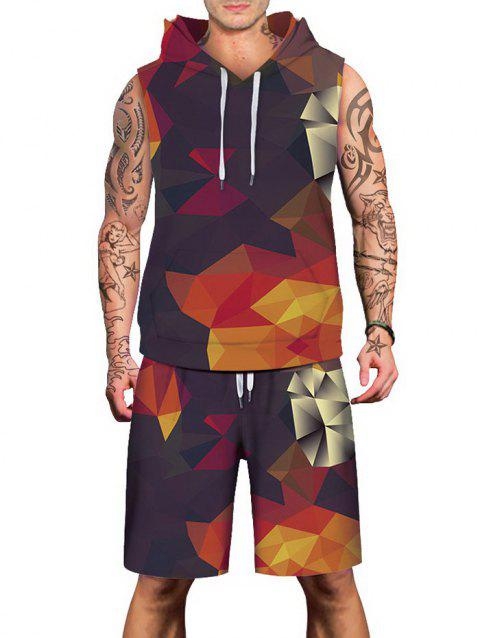 Geometrical Printed Hoodies Tank Top and Shorts - multicolor XL