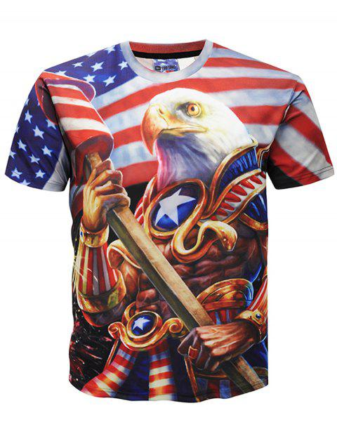 Casual Eagle Striped T-shirt - multicolor 5XL