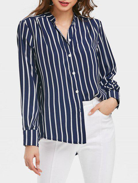 Striped High Low Shirt - DEEP BLUE L