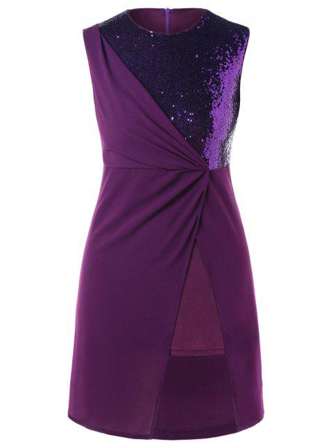 Plus Size Sequins Panel Formal Dress - PURPLE 5XL