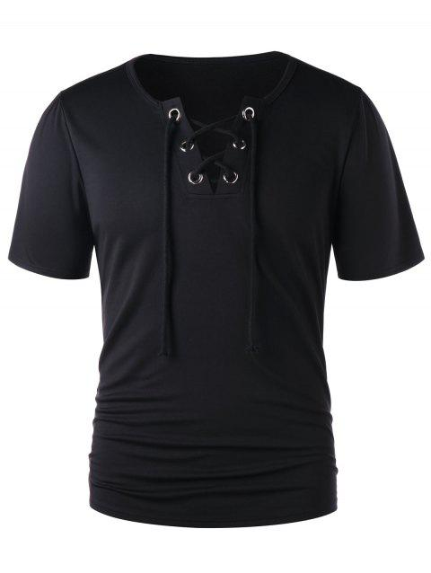 Classic Lace Up Short Sleeve T-shirt - BLACK 2XL