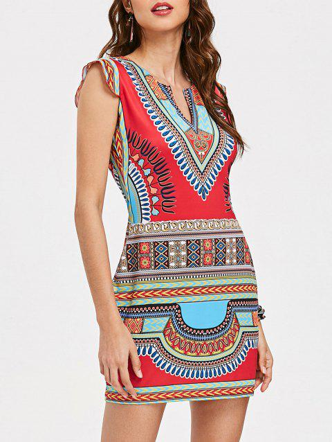 Tribal Print Mini Fitted Dress - multicolor L