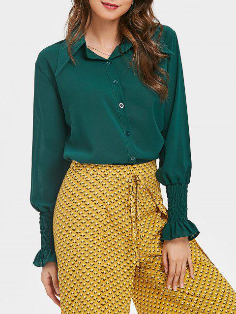Smocked Puff Sleeve Chiffon Blouse - DARK FOREST GREEN XL