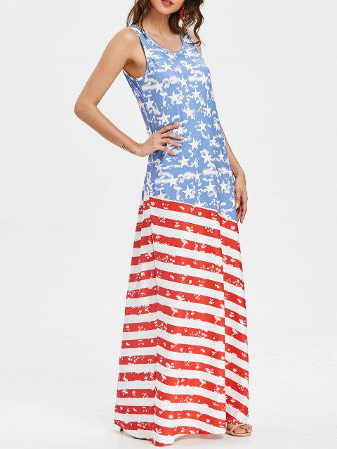Scoop Neck Patriotic American Flag Maxi Dress - multicolor S