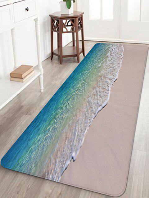 Beach Seaside Waves Print Floor Rug - multicolor W16 INCH * L47 INCH