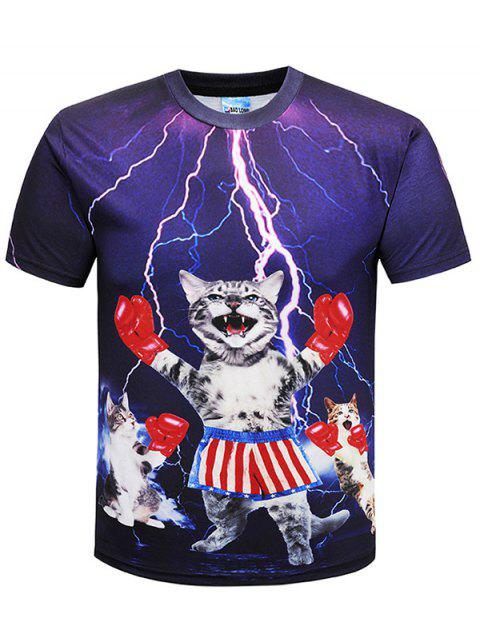 Crew Neck Cheering Cat Print T-shirt - multicolor 5XL