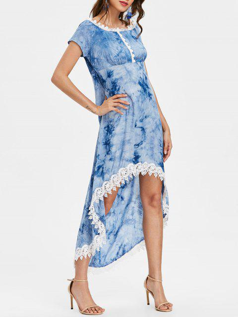 Tie Dyed Print Empire Waist High Low Dress