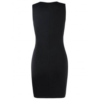 Sleeveless Color Block Bodycon Dress - BLACK 2XL