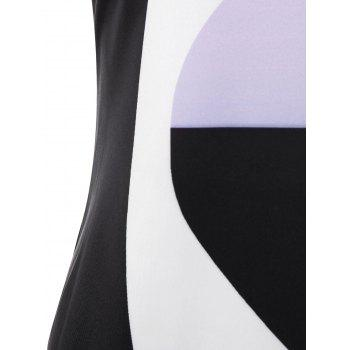 Sleeveless Color Block Sheath Dress - multicolor XL