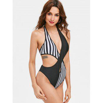 Halter Color Block Criss Cross Monokini Swimsuit - BLACK L