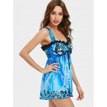 Cheetah Print Empire Waisted Tankini - BLUE XL