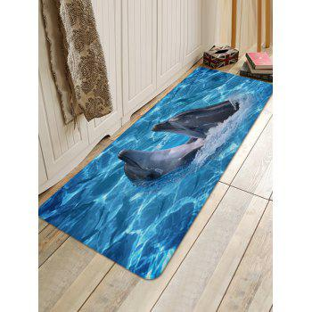 Sea Dolphins Playing Print Nonslip Floor Rug - BLUE DRESS W16 INCH * L47 INCH