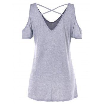 Skull Butterfly Open Shoulder Tunic T-shirt - LIGHT GRAY 2XL