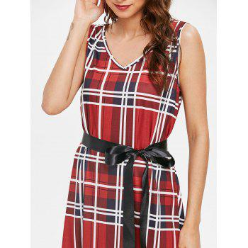 Sleeveless Tartan Shift Dress with Belt - RED WINE M