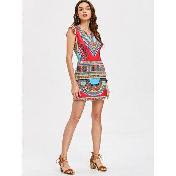 Tribal Print Mini Fitted Dress - multicolor M
