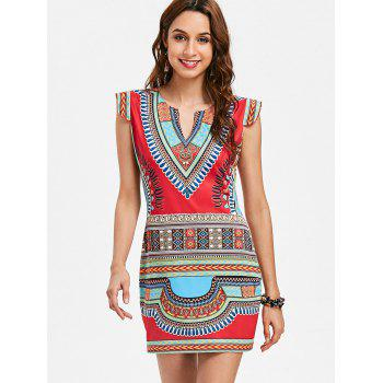 Tribal Print Mini Fitted Dress - multicolor XL