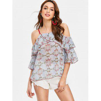 Floral Flounce Cold Shoudler Chiffon Blouse - LIGHT BLUE M
