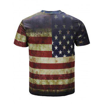 Staring Eagle Pattern Casual T-shirt - multicolor 3XL