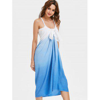 Dip Dye Bowknot Front Beach Cover Up Dress - COLORMIX L