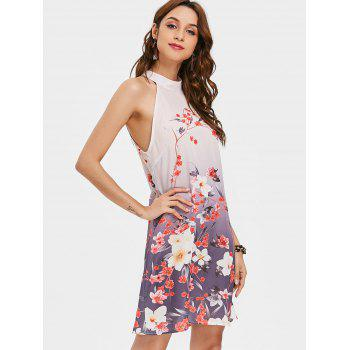 Floral Print Swing Dress - PINK XL