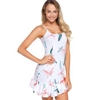Graphic Mini Slip Dress - GREENISH BLUE XL