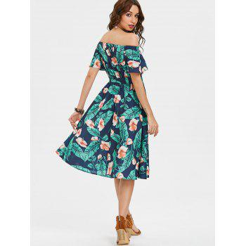 Printed Off The Shoulder Midi Dress - multicolor M
