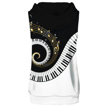 Musical Notation Piano Key Hoodies Tank Top and Shorts - multicolor L