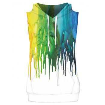 Colorized Oil Paint Pattern Hoodies Tank Top and Shorts - multicolor XL