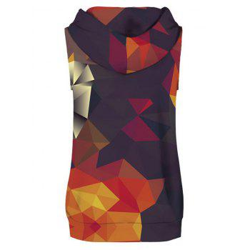 Geometrical Printed Hoodies Tank Top and Shorts - multicolor L
