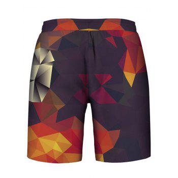 Geometrical Printed Hoodies Tank Top and Shorts - multicolor 2XL