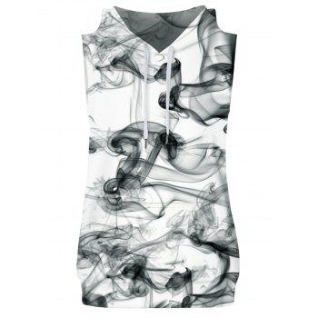 Wreathing Smoke Print Hoodies Tank Top and Shorts - multicolor M