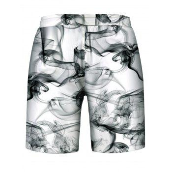 Wreathing Smoke Print Hoodies Tank Top and Shorts - multicolor L