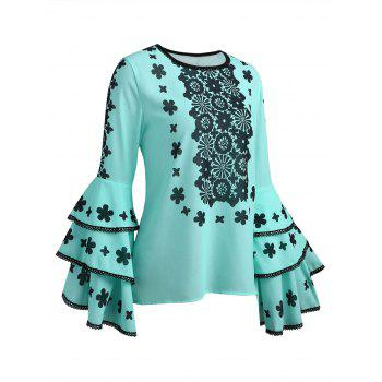 Lace Patterned Flare Sleeve Blouse - LIGHT BLUE S