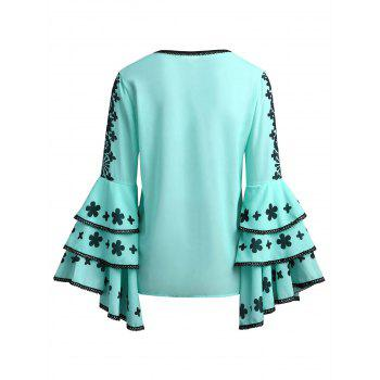 Lace Patterned Flare Sleeve Blouse - LIGHT BLUE M