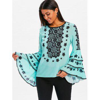 Lace Patterned Flare Sleeve Blouse - LIGHT BLUE XL