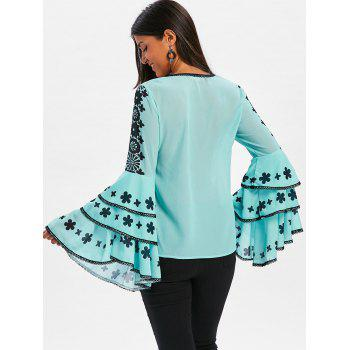 Lace Patterned Flare Sleeve Blouse - LIGHT BLUE 2XL