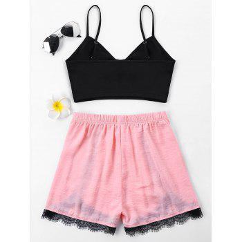 Spaghetti Strap Lace Trim Two Piece Set - PINK M