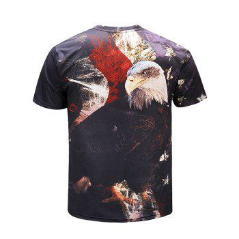 Casual Standing Eagle Pattern T-shirt - multicolor 4XL