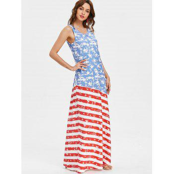 Scoop Neck Patriotic American Flag Maxi Dress - multicolor XL
