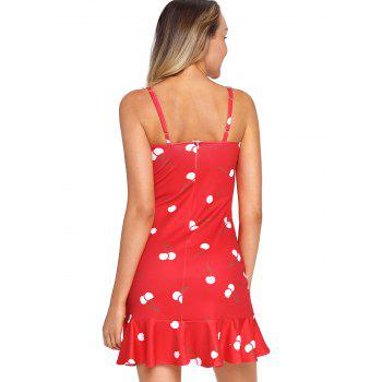 Graphic Mini Slip Dress - FIRE ENGINE RED M