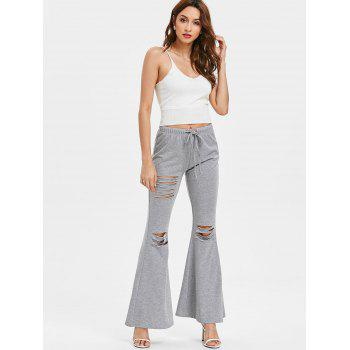 High Rise Ripped Bell Bottom Pants - GRAY L