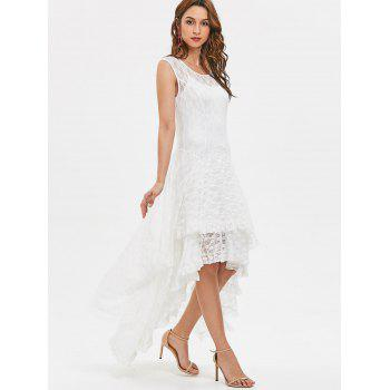 Layered Lace High Low Dress - WHITE L