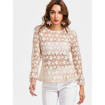 Sheer Star Blouse - APRICOT L