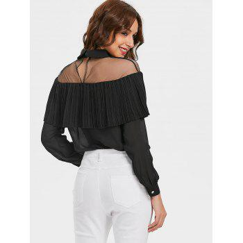 Semi Sheer Mesh Panel Ruffle Chiffon Blouse - BLACK L