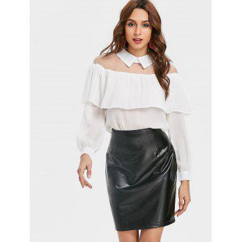 Semi Sheer Mesh Panel Ruffle Chiffon Blouse - WHITE M