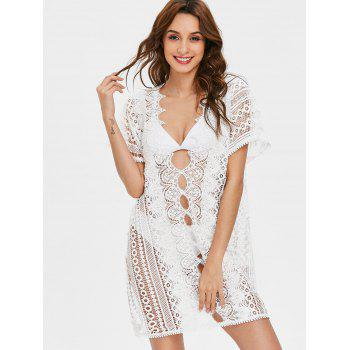 Plunging Neckline Long Lace Cover Up Top - WHITE L