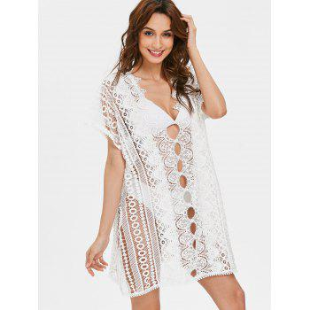 Plunging Neckline Long Lace Cover Up Top - WHITE XL