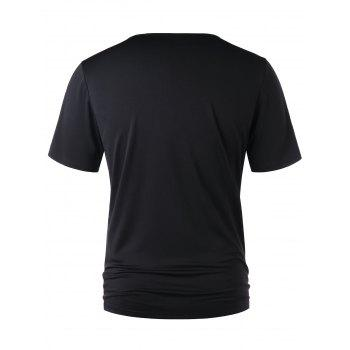 Classic Lace Up Short Sleeve T-shirt - BLACK XL