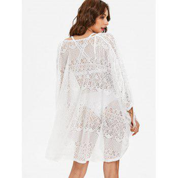 Collarless Fringe Lace Cover Up - WHITE XL